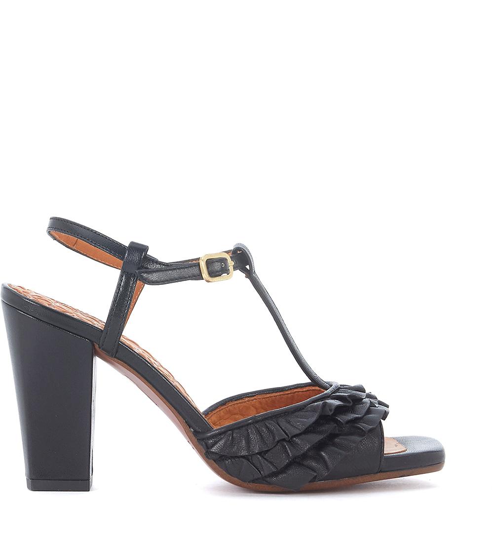 Sandalo con tacco Chie Mihara Brunella in pelle metallizzata con rouches h-brands bianco Pelle Mejor Lugar En Línea Comprar Barato Original 6a9T9AEpd