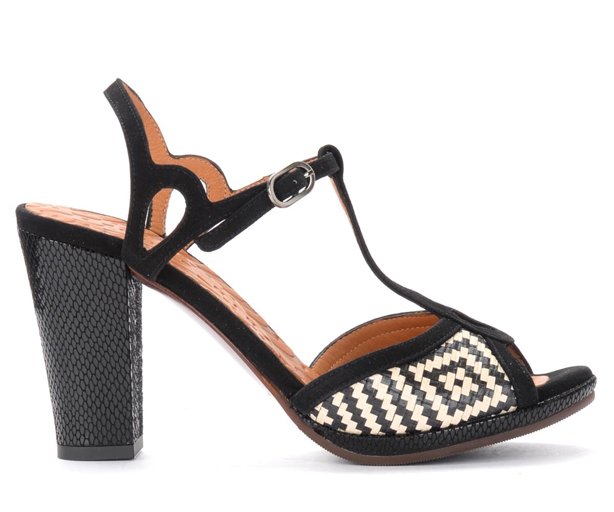 Sandales à talon Abal en cuir imprimé noir et blanc - Chie Mihara - Modalova