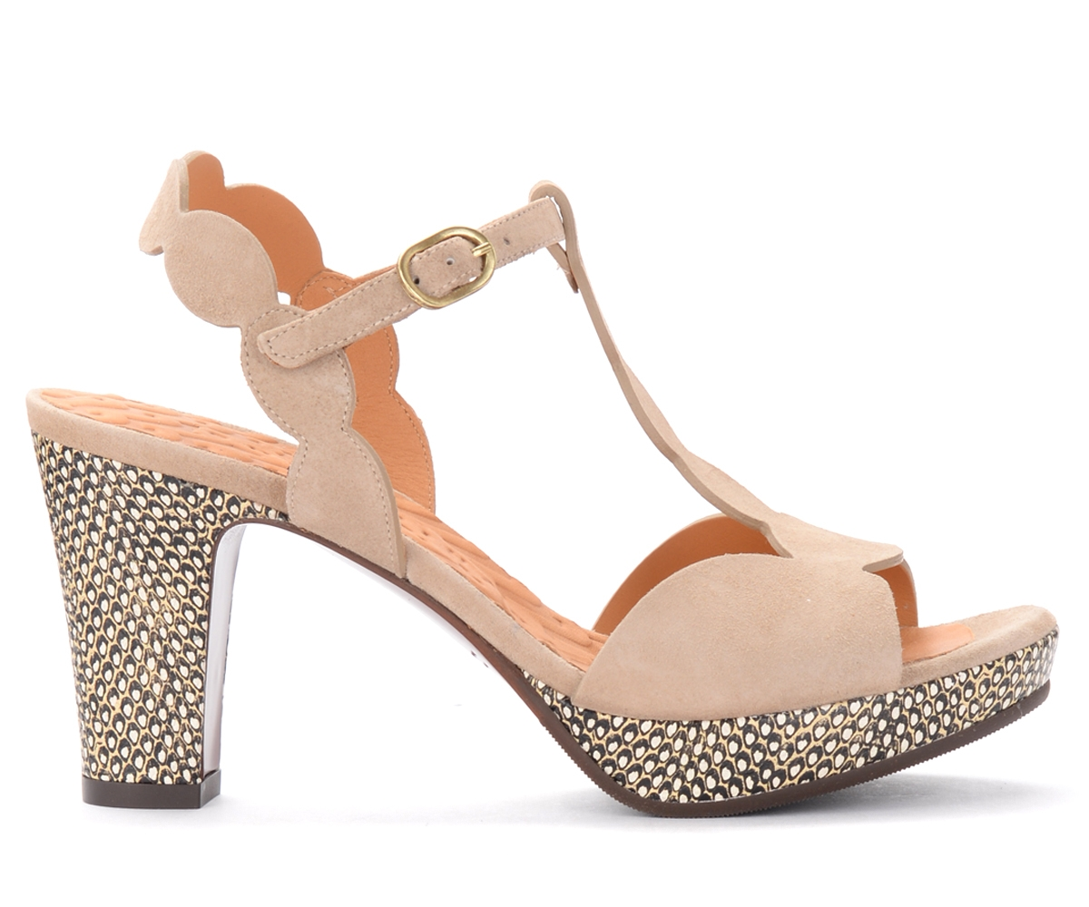 Sandales à talon Elden en daim nude - Chie Mihara - Modalova