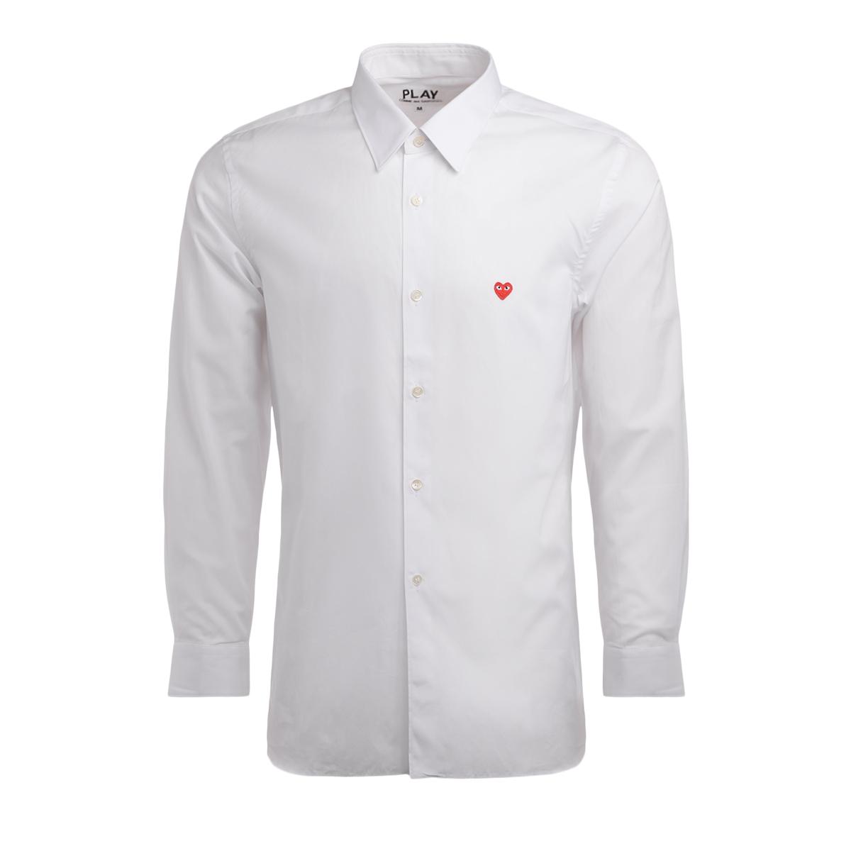 Chemise Comme Des Garcons PLAY en coton blanc avec un mini-cœur - Comme des Garçons Play - Modalova