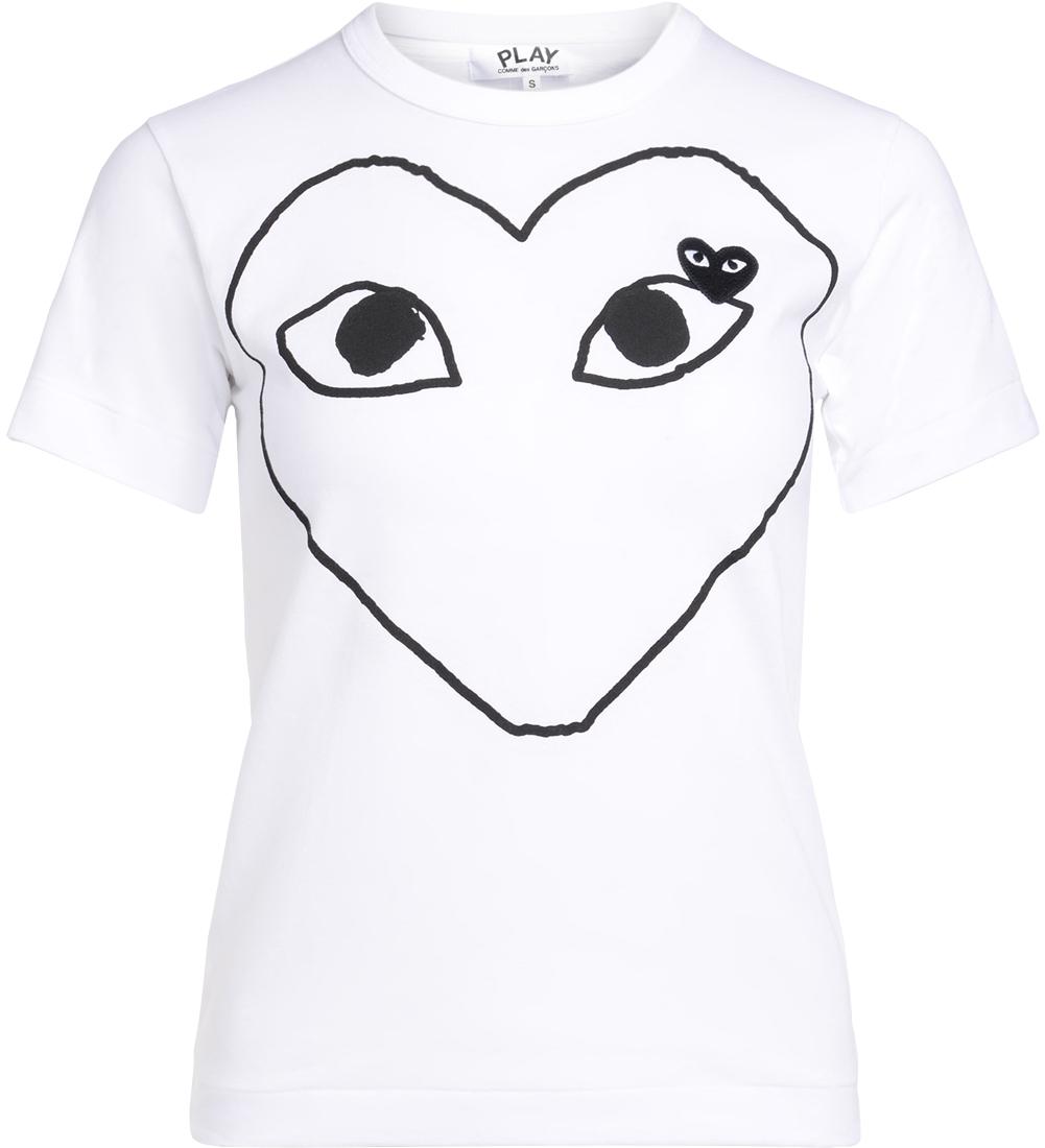 T-Shirt à col rond blanche avec coeur noir - Comme des Garçons Play - Modalova