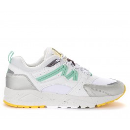 Sneaker Karhu Fusion 2.0 in pelle e tessuto bianco e argento