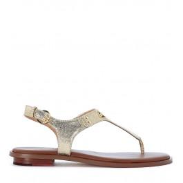 Sandalo infradito Michael Kors Plate Thong in pelle saffiano oro