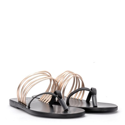 Laterale Ciabattina Ancient Greek Sandals Kilini in pelle nera e platino