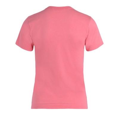 Laterale T-Shirt Comme Des Garçons Play rosa con cuore a pois rossi