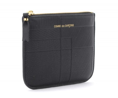 Laterale Bustina Comme Des Garçons Wallet Intersection in pelle nera