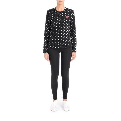 Laterale T-shirt Comme Des Garçons Play nera con pois bianchi
