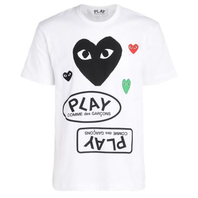 Laterale T-Shirt da uomo Comme Des Garçons PLAY bianca con cuore nero e loghi