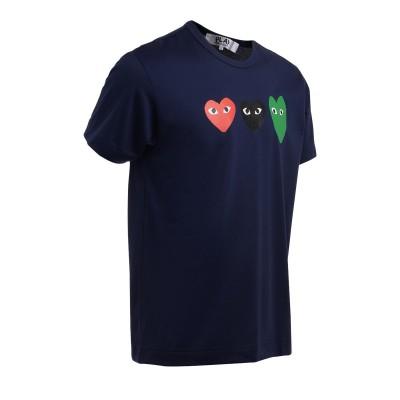 Laterale T-Shirt Comme Des Garçons PLAY in cotone blu con cuori multicolor