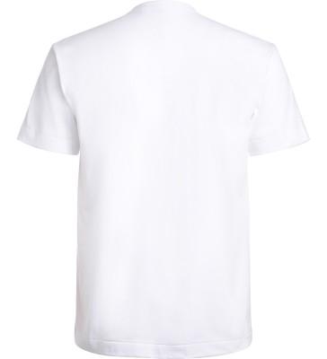 Laterale T-Shirt Comme Des Garçons PLAY bianca con cuore blu a pois