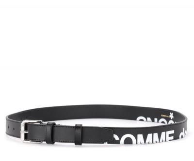 Laterale Cintura Comme des Garçons Wallet Huge Logo in pelle nera