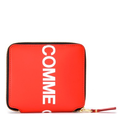 Laterale Portafoglio Comme Des Garçons Wallet Huge Logo in pelle rossa