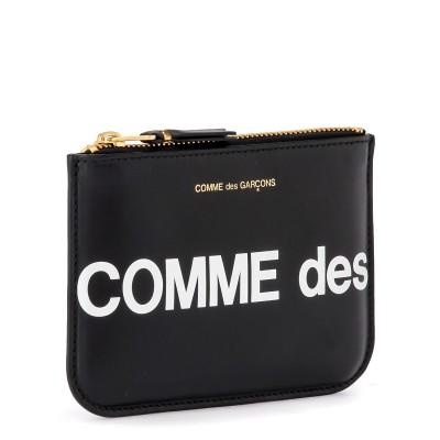 Laterale Bustina Comme Des Garçons Wallet Huge Logo in pelle nera