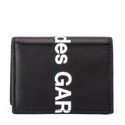 Laterale Portafogli Comme Des Garçons Wallet Huge Logo in pelle nera