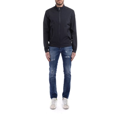 Laterale Jeans Dondup Richie color blu con rotture