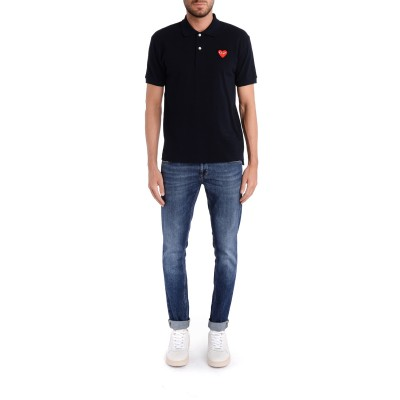 Laterale Polo Comme Des Garcons Play blu navy con cuore rosso