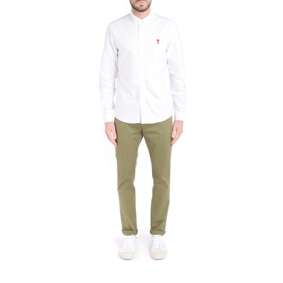 Laterale Pantalone chino Dondup Gaubert in cotone verde