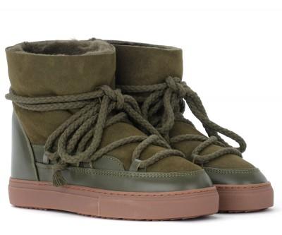 Laterale Stivaletto Inuikii Sneaker Classic in cuoio scamosciato verde