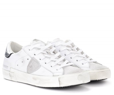 Laterale Sneaker Philippe Model Paris X in pelle bianca con spoiler argento