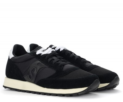 Laterale Sneaker Saucony Jazz Vintage in suede e tessuto nero