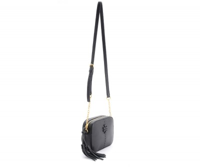 Laterale Borsa a tracolla Tory Burch McGraw in pelle nera
