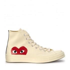 Sneaker Comme des Garçons Play x Converse alte in canvas beige