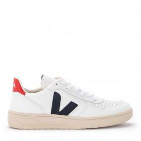 Sneaker Veja V-10 da donna in pelle bianca, blu e rossa