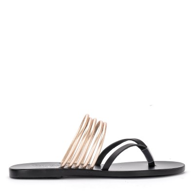 Ciabattina Ancient Greek Sandals Kilini in pelle nera e platino