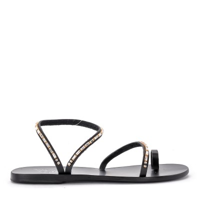 Sandalo Ancient Greek Sandals Apli Eleftheria Diamonds in pelle nera