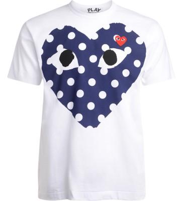 T-Shirt Comme Des Garçons PLAY bianca con cuore blu a pois