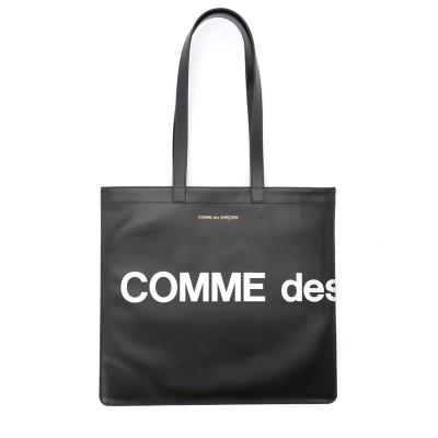 Borsa Shopping Comme Des Garçons Wallet Huge Logo in pelle nera