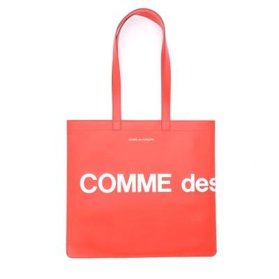Borsa Shopping Comme Des Garçons Wallet Huge Logo in pelle rossa