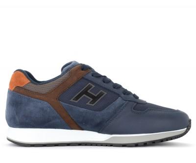 Sneaker Hogan H321 in pelle e mesh blu e marrone