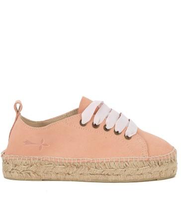 Sneaker espadrilla Manebí Hamptons in suede rosa e iuta