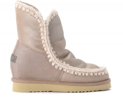 Stivaletto Mou Eskimo Inner Wedge Short in montone stone metallic