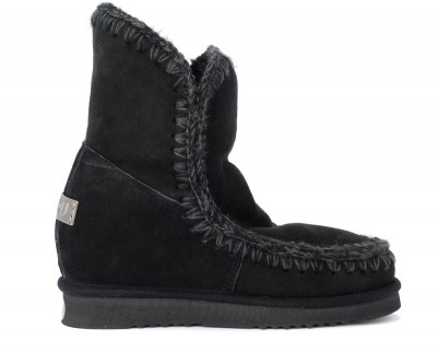 Stivaletto Mou Eskimo Inner Wedge Short in montone nero