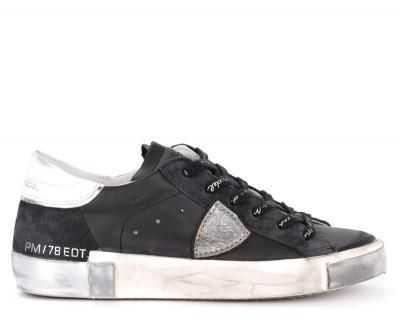 Sneaker Philippe Model Paris X in pelle e suede nera e silver