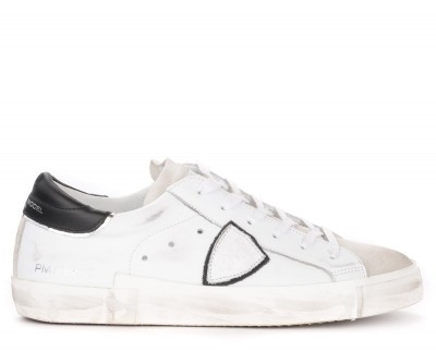 Sneaker Philippe Model Paris X in pelle bianca con spoiler nero