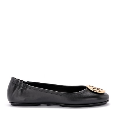Ballerina Tory Burch Minnie Travel in nappa nera e oro