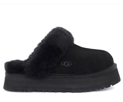 Sandalo ciabatta Ugg Disquette in camoscio nero