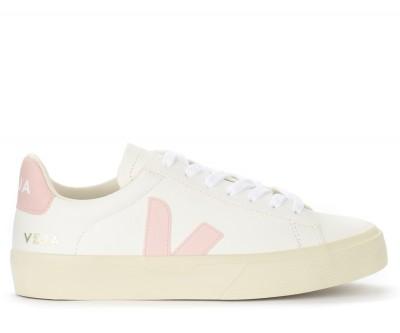 Sneaker Veja Campo Chromefree in pelle bianca e rosa