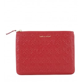 Pochette Comme des Garcons wallet in red cow leather.