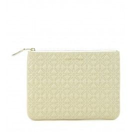 Pochette Comme des Garcons wallet in white cow leather
