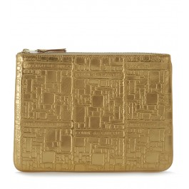 Pochette Wallet Comme des Garçons in golden leather with pattern
