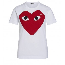 White T-shirt Play by Comme de Garcon with red heart