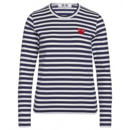 Blue T-shirt Play by Comme de Garcon with white stripes