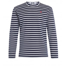 Play by Comme de Garcon men's t-shirt with blue and white straps
