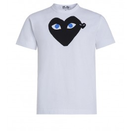 White T-shirt Play by Comme de Garcon with black heart