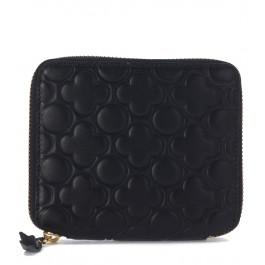 Comme Des Garçons black leather wallet with four-leaf clover pattern