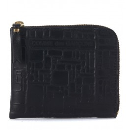 Comme Des Garçons black leather wallet with pattern